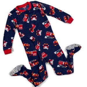 Carters One Piece Footsie Firetruck Pajamas Blue